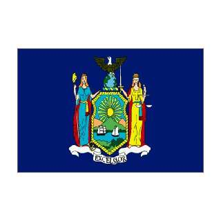 New York State Flag Rayon On Staff 4 in. x 6 in.