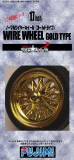 Wire Wheel Gold Type Wheel & Tire Set 17 inch 1/24 scale kit