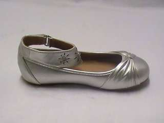 Girls Silver Ballet Flats with Ankle Strap TG Yth Sz 3