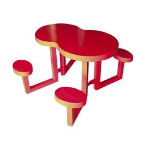 Tables 337A0010 Kids Serpentine Aluminum Picnic Table, Red Patio