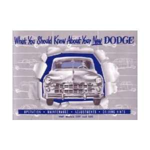 1949 DODGE Car Full Line Owners Manual User Guide