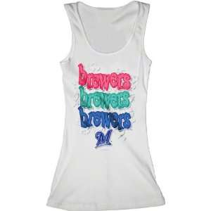 Milwaukee Brewers White Girls Ribbed Tank Top