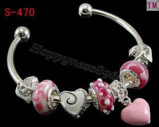 Christmas Gift Murano glass Charms troll Bracelet Bangle S 470