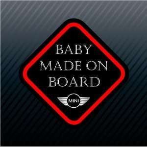 Baby Made on Board Mini Cooper Racing Sign Sticker