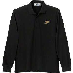 Boilermakers Black Long Sleeve Pique Polo Shirt