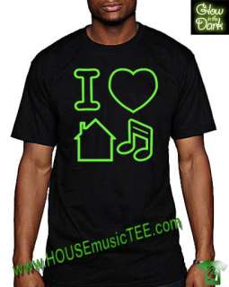 NEON GREEN Logo I LOVE HOUSE MUSIC Tee T shirt dance