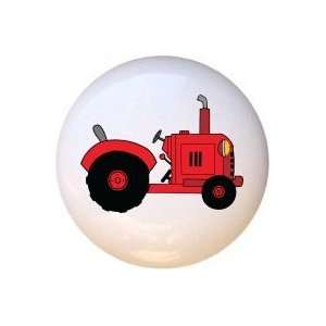 Red Farm Tractor Drawer Pull Knob