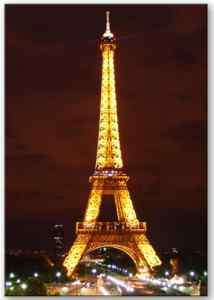 Eiffel Tower night view fridge magnet.