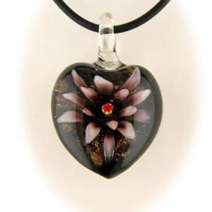 Purple Murano Glass Flower Heart Pendant 16 InchRubber Cord Necklace
