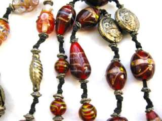 VINTAGE ART DECO GLASS BEAD NECKLACE LAMPWORK VENETIAN MURANO