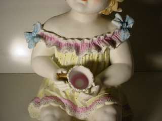 Extra Large German Bisque Piano Baby Holding Tip Cup Huge 14in
