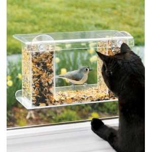 Window Mount See Through Clear Plastic Bird Feeder Patio