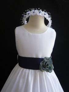 New WHITE NAVY BLUE wedding party flower girl dress