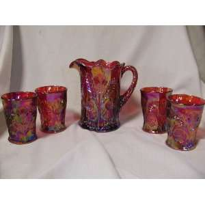 Red Carnival Glass Inverted Thistle 5PC Water Pitcher