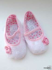 Rose White baby girl mary jane ballet shoes (NB 12M)