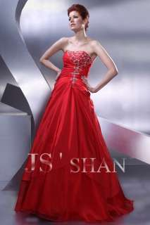 JSSHAN Hot Red Long Ball Prom Ball Gown Evening Dress