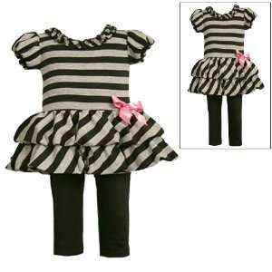 Bonnie Jean Baby/Infant Girls 12M 24M 2 Piece BLACK GRAY STRIPE TIER