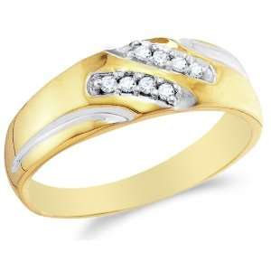 10K Yellow and White Two Tone Gold Diamond MENS Wedding Band Ring