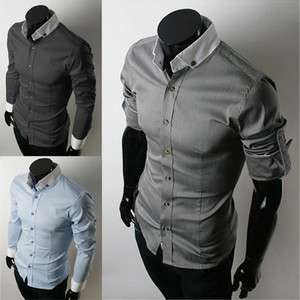 Dress Shirts Fit Casual Stylish Shirt XS L 3 Colors Free Ship