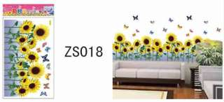 1PC Beauty Butterfly Sunflower DIY Wall Sticker Decal ZS018
