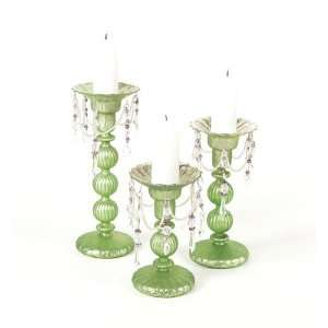 Pack of 6 Green Antique Style Easter Glass Pillar Candle