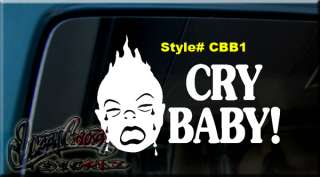 BABY ON BOARD VINYL Window Decal Sticker NO CRY BABIES