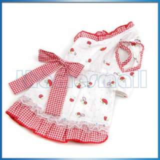 Mushroom Pattern Checked Trim Pet Dog Dress Apparel S