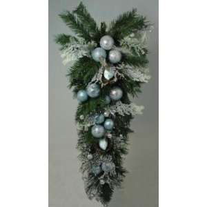 Tiffany Iced Blue Pre Decorated Artificial Christmas Swag