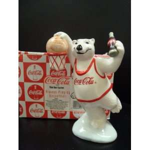 COCA COLA POLAR BEAR ALWAYS PLAYING BASKETBALL FIGURINE