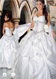 White Halter Formal Prom Party Gown Evening Dress Wedding Dress+ Shawl