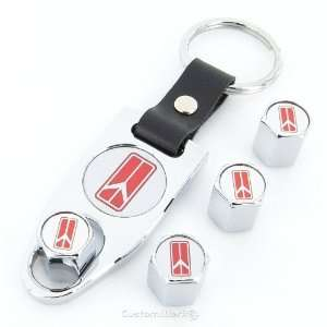 Style Red Logo Chrome Tire Valve Caps + Wrench Keychain Automotive