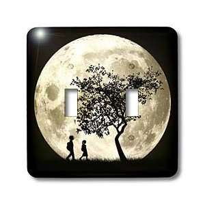 Perkins Designs Space   Full Moon silhouette of people walking near a