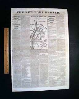 1862 COLUMBUS KY MAP Fort Henry TN Civil War Newspaper