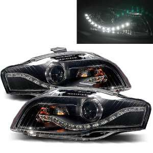 05 09 Audi A4 Black Projector Headlights (R8 LED Style