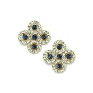 Dark Blue Crystal Pave Flower 14KGP Gold Button Earrings Jewelry