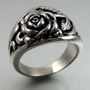BIKER HEAVY 14g STAINLESS STEEL LOVELY ROSE MENS RING
