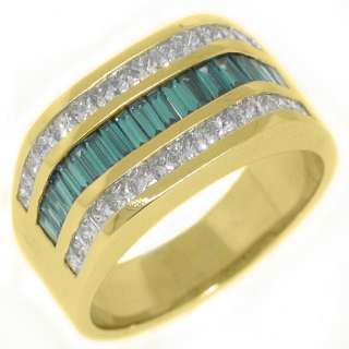MENS 14KT YELLOW GOLD BLUE DIAMOND RING WEDDING BAND PRINCESS BAGUETTE