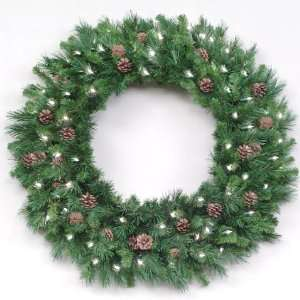Pine Cones Commercial Christmas Wreath   Clear Lights