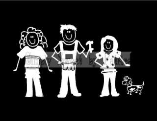 CUSTOM 5 STICK FIGURE PEOPLE FAMILY Vinyl Car Auto Window Decal Sign