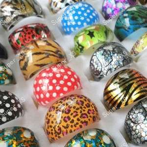 jewelry mixed lots 50pcs children Leopard resin rings