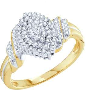 LADIES YELLOW GOLD CLUSTER DIAMOND ENGAGEMENT BAND RING
