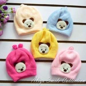 Newborn Baby Girls Crochet Hat Cute Little Bear Infant Winter Caps 0 6