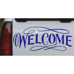 Welcome Swirls Business Car Window Wall Laptop Decal Sticker    Blue