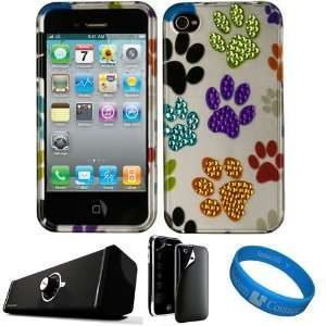 Dog Paw Crystal Hard Case Cover with Rhinestone Adornment