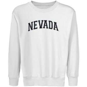 Nevada Wolf Pack Youth White Arch Applique Crew Neck Fleece Sweatshirt