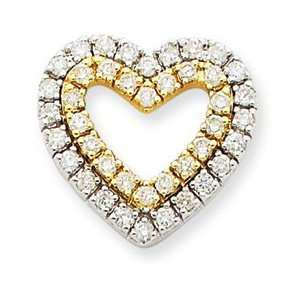 14k Two tone Gold Diamond Heart Pendant   JewelryWeb