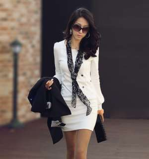 New Womens Korea Slim Round Crew Neck Long Sleeve Casual Mini Dress