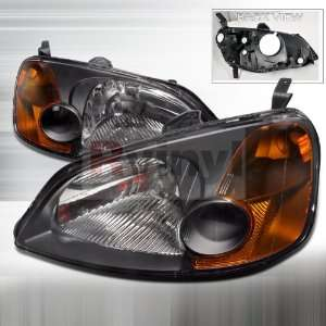 Honda Civic 2001 2002 2003 Euro Headlights   Black