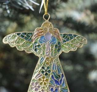 Christmas Xmas Tree Ornament Enamel Cloisonne Angel NWT