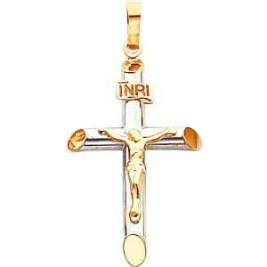 14K Two Tone Gold INRI Crucifix Pendant Jewelry